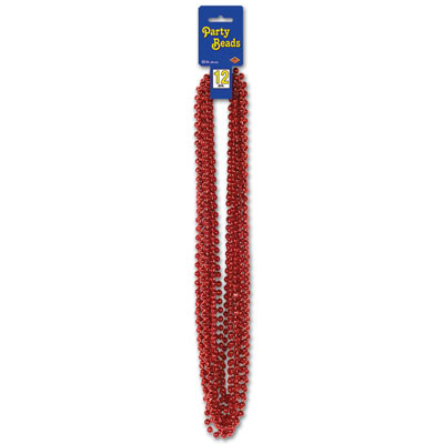 33 Inch 6mm Bead Necklaces - Red 12ct