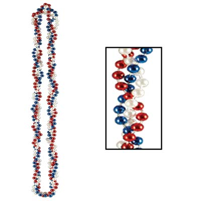 Braided Beads 33 - Red White Blue