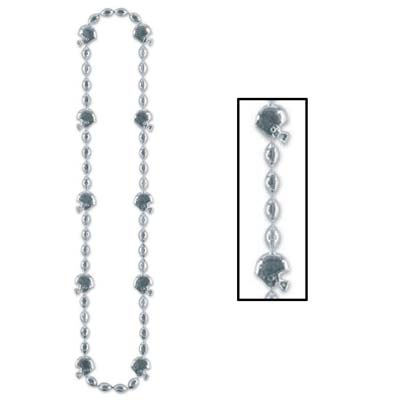 Football Beads 36in - Silver