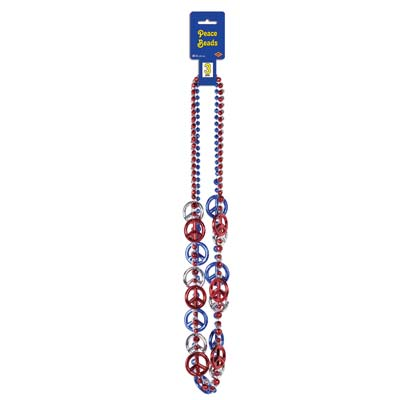 Patriotic Peace Sign Beads - 3ct