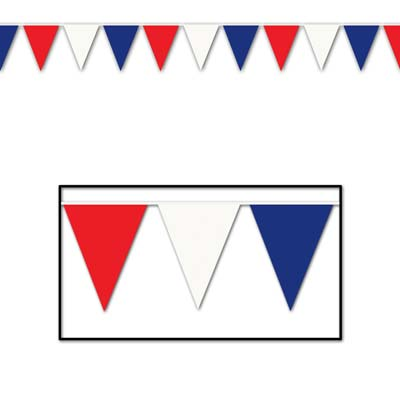 Outdoor Pennant Banner 17in x 30ft - Red White Blue