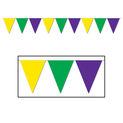 Indoor and Outdoor Pennant Banner - 10in x 12ft - Green Yellow Purple
