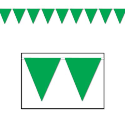 Indoor and Outdoor Pennant Banner - 10in x 12ft - Green