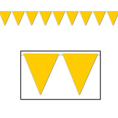Indoor and Outdoor Pennant Banner - 10in x 12ft - Yellow