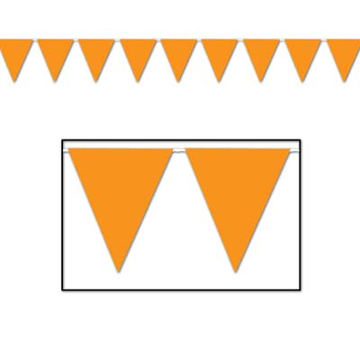 Indoor and Outdoor Pennant Banner - 10in x 12ft - Orange
