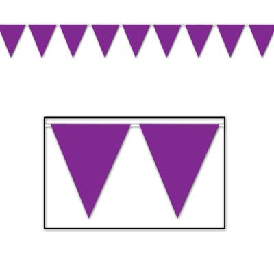 Indoor and Outdoor Pennant Banner - 10in x 12ft - Purple