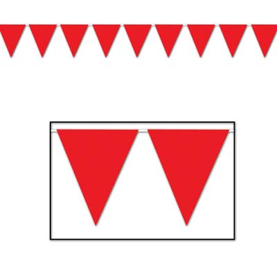 Indoor and Outdoor Pennant Banner - 10in x 12ft - Red