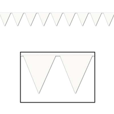Indoor and Outdoor Pennant Banner - 10in x 12ft - White