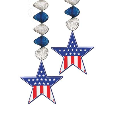 Patriotic Star Danglers 30in 2ct