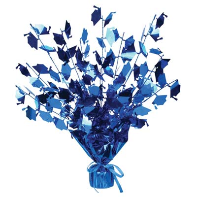 Graduate Cap Gleam 'N Burst Centerpiece 15in - Blue