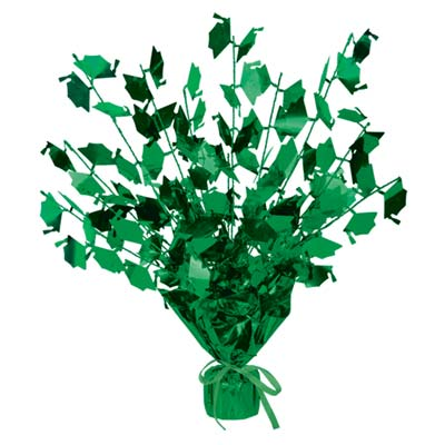 Graduate Cap Gleam 'N Burst Centerpiece 15 in.- Green