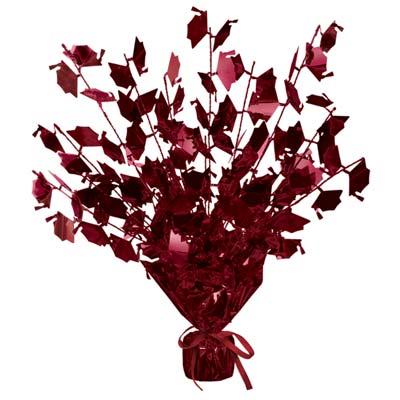 Graduate Cap Gleam 'N Burst Centerpiece 15in - Maroon