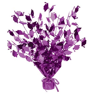 Graduate Cap Gleam 'N Burst Centerpiece 15in - Purple