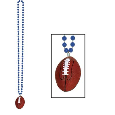 Beads with Football Medallion 33in - Blue