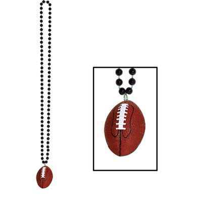 Beads with Football Medallion 33in - Black