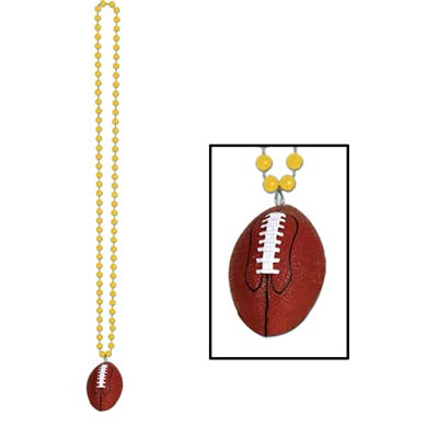 Beads with Football Medallion 33in - Gold