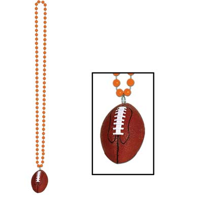 Beads with Football Medallion 33in - Orange