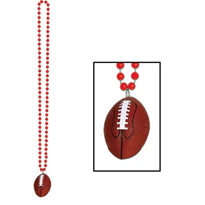 Beads with Football Medallion 33in - Red