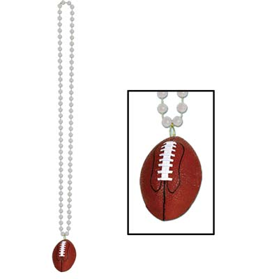 Beads with Football Medallion 33in - Silver