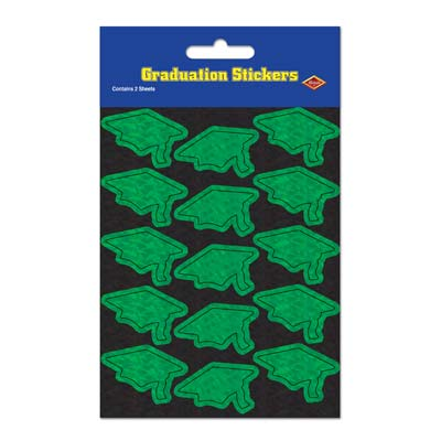 Prismatic Grad Cap Stickers 4.75 x 7.5in - Green 4ct