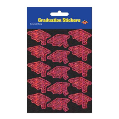 Prismatic Grad Cap Stickers 4.75 x 7.5in -Maroon 4ct
