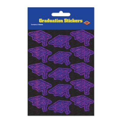 Prismatic Grad Cap Stickers 4.75 x 7.5in - Purple 4ct