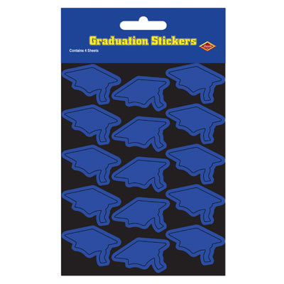Grad Cap Stickers 4.75 x 7.5in - Blue 4ct