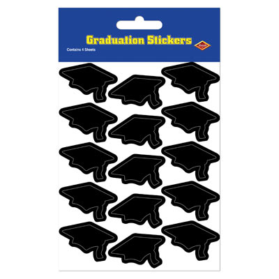 Grad Cap Stickers 4.75 x 7.5 - Black 4ct