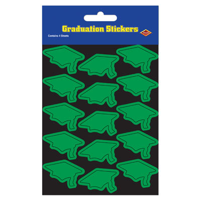 Grad Cap Stickers 4.75 x 7.5in - Green 4ct