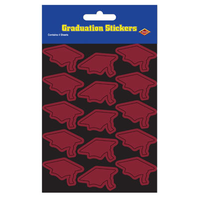 Grad Cap Stickers 4.75 x 7.5in - Maroon 4ct