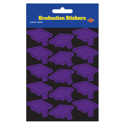 Grad Cap Stickers 4.75 x 7.5in - Purple 4ct