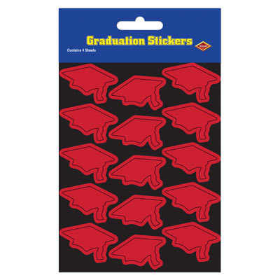 Grad Cap Stickers 4.75 x 7.5in - Red 4ct