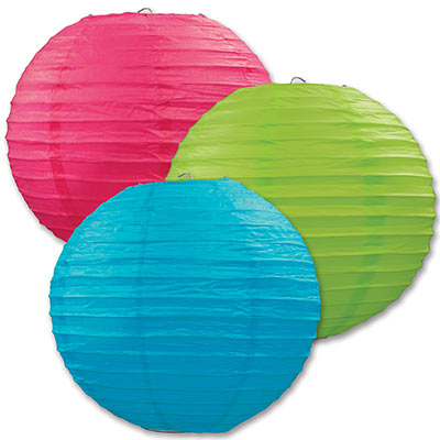 Paper Lanterns 9.5in - Turqoise Green Cerise 3ct