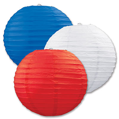 Paper Lanterns 9.5in - Red White Blue 3ct