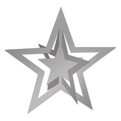 3-D Foil Hanging Star 12in silver