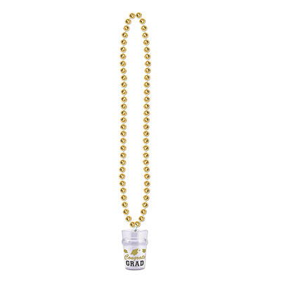 Beads w Grad Shot Glass - Gold