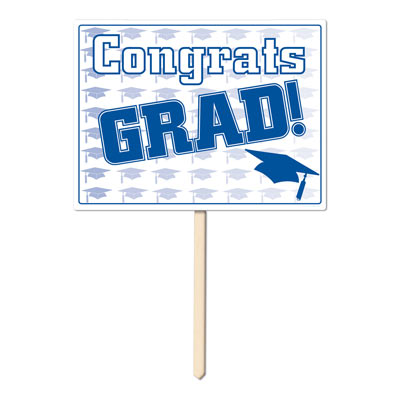 Plastic Congrats Grad Yard Sign 11x15in - Blue