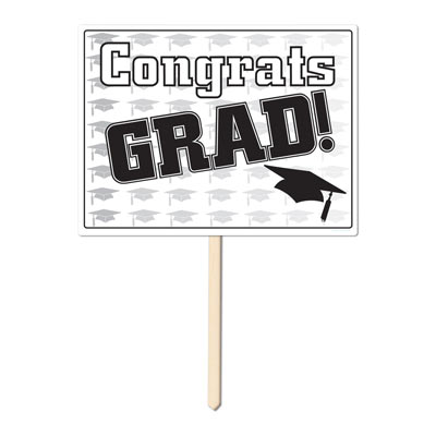 Plastic Congrats Grad Yard Sign 11 x 15 in - Black