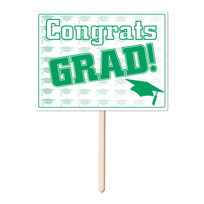 Plastic Congrats Grad Yard Sign 11x15in - Green