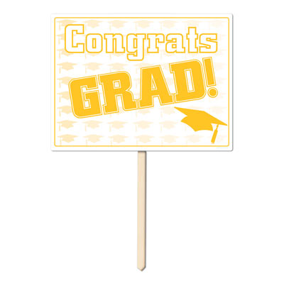 Plastic Congrats Grad Yard Sign 11x15in - Gold