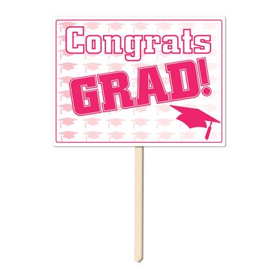Plastic Congrats Grad Yard Sign 11x15in - Pink