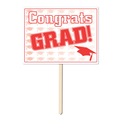 Plastic Congrats Grad Yard Sign 11x15in - Red