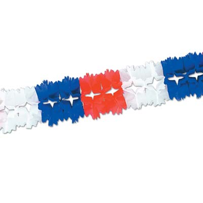 Pageant Garland 7in x 14ft 6in - Red White Blue