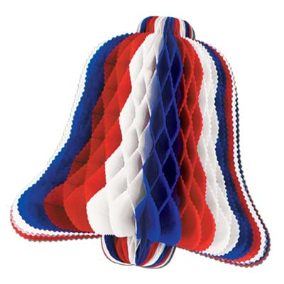 Patriotic Tissue Bell 10in - Red White Blue