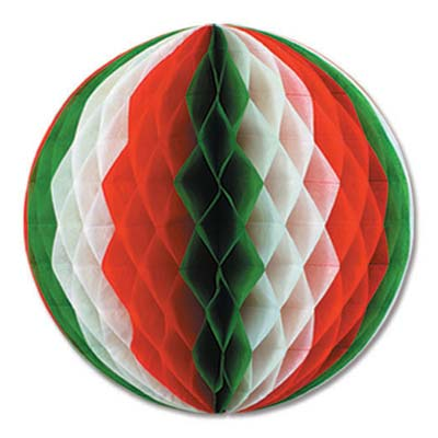 Red White and Green Tissue Ball - 14 Inch