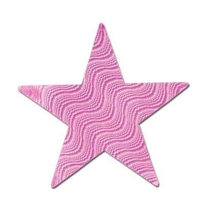 Embossed Foil Star Cutout 5 in- Pink