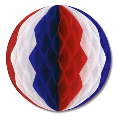 Pkgd Tissue Ball 12in - Red White Blue