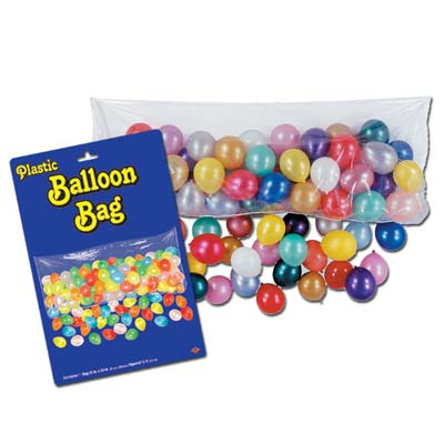 Plastic Balloon Bag with Balloons 3ft x 6ft 8in