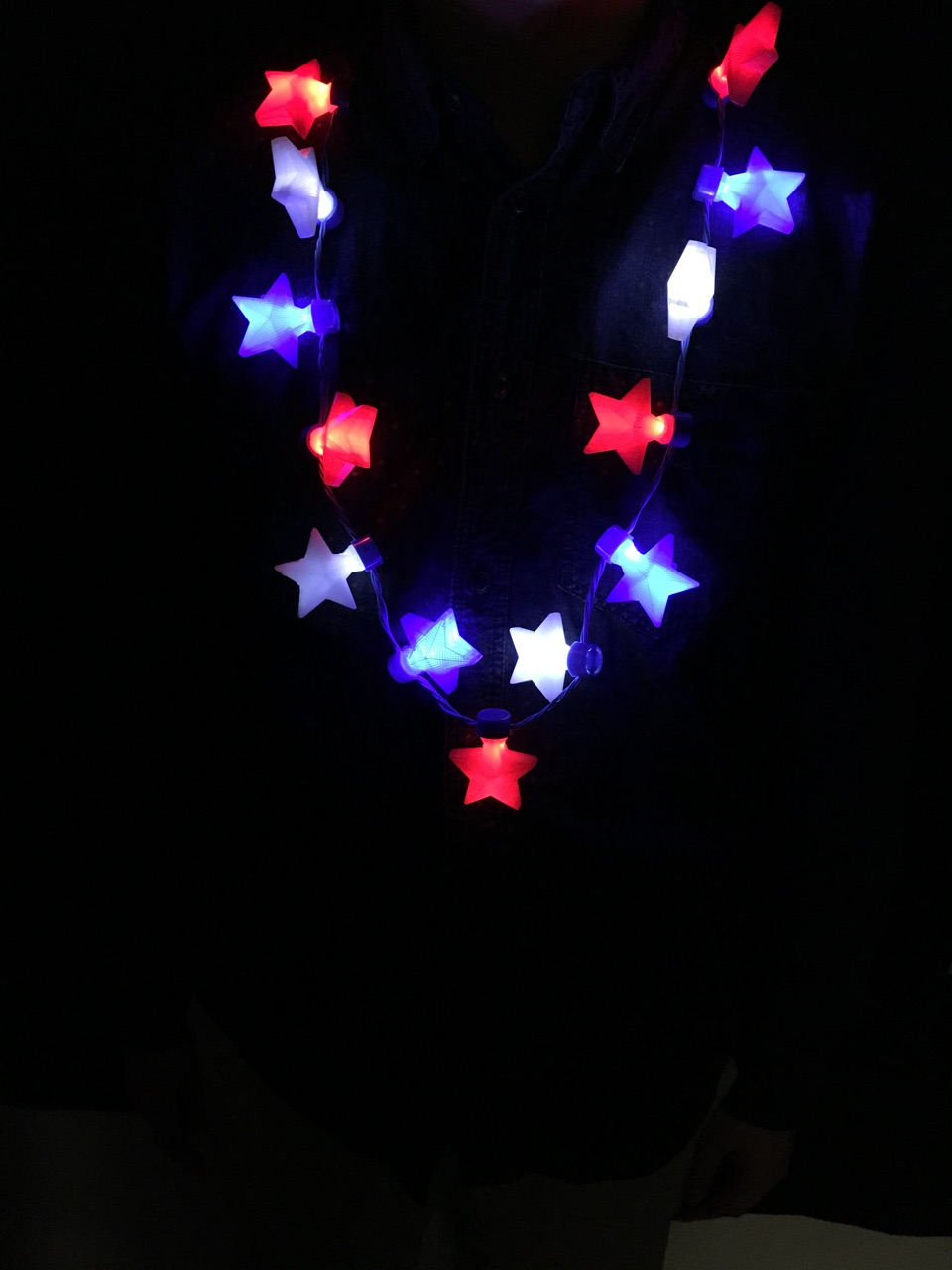 LED 13 Stars Necklace - Red-White-Blue