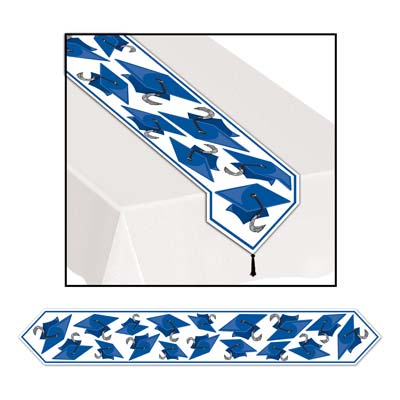 Printed Grad Cap Table Runner 11in x 6ft - Blue